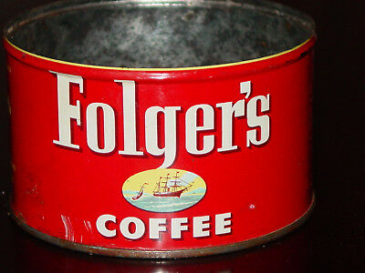 FOLGER'S COFFEE CAN KEY CAN Vintage Folger's Coffee Tin 1952 kitchen cafe decor