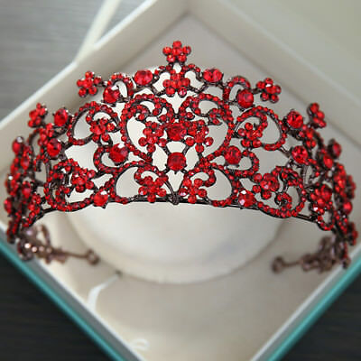 Baroque Wedding Bridal Queen Headband Red Crystal Crown Tiaras Pageant Prom Gift
