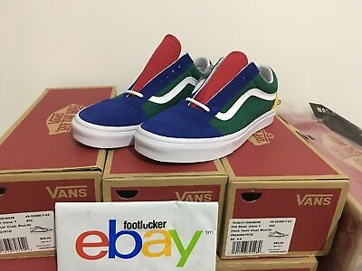"""Vans Old Skool """"Yacht Club"""" Colorblocked Blue Red Yellow Green White Size 4-13"""