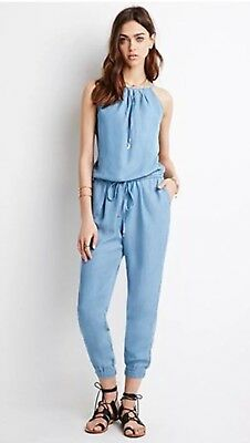 3dd1b8d4bfa FOREVER 21 MEDIUM Blue Drawstring Denim Jumpsuit Small S -  24.29 ...