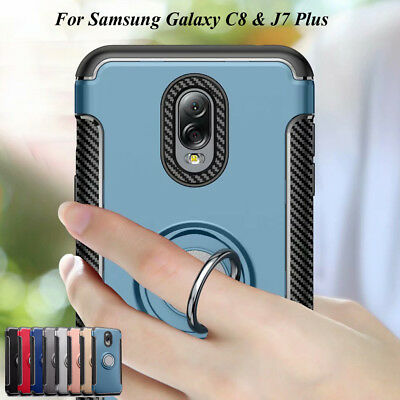 For Samsung Galaxy C8/ J7 Plus, Adsorption Magnetic Ring Stand Hybrid Case Cover