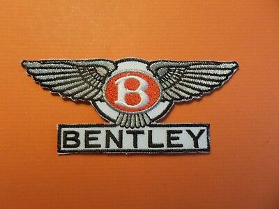 ROLLS BENTLEY AUTO black & yellow Embroidered 1-3/4 x 4-1/4 Iron On Patch