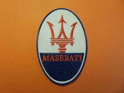 MASERATI AUTO white & red & blue Embroidered 2-1/4 x 3-1/2 Iron On Patch