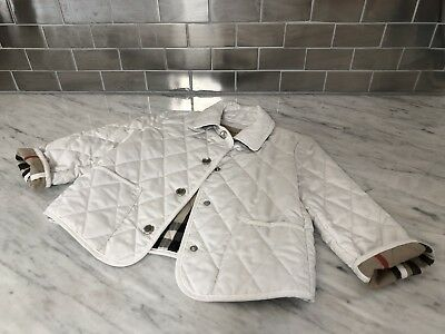 Auth Burberry Quilted Nova Check Jacket Sz 3 White
