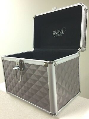 Harmony GELISH SILVER TECH TRAVEL CASE hard box w/ lock for beauty products NEW