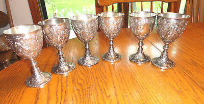 6 Corbell & Co Silverplate Wine Goblets Embossed Cherubs Angels Grapes