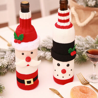 HOT Merry Christmas Wine Bottle Cover Bag Snowman Santa Claus Xmas Party Red