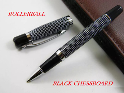 Luxury MB Classic M230 Chessboard Edition Rollerball Pen Silver Clip Star On Top