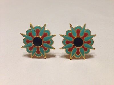 METROPOLITAN MUSEUM OF ART EGYPTIAN ENAMELED FLOWER EARRINGS - 24kt GOLD - NEW