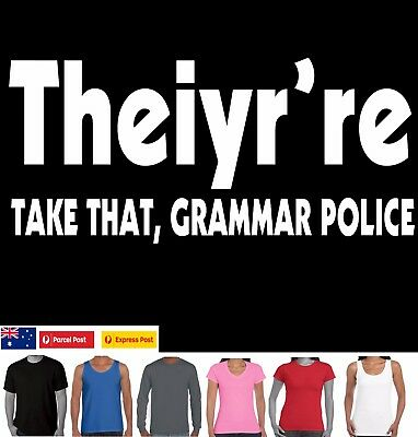 Funny T-Shirts new Grammar Police Nazi English teacher Slogan Ladies Men's size