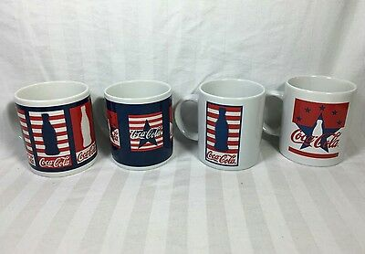 Coca-Cola Brand Mugs 2002 by Gibson Lot 4 Coke Coffee Cups Red White Blue