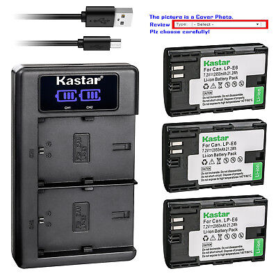 Kastar LCD Dual Charger Battery for Canon LP-E6N LC-E6EE & Canon EOS 5D Mark IV