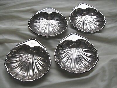 4 Vintage GORHAM Silverplated Scalloped Shell Trinket Nut Butter Dish EP YC146