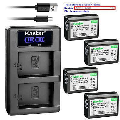 Kastar LCD Dual Charger Battery for Sony NP-FW50 TRW & ILCE-7M2 Alpha 7 II a7 II