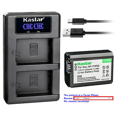 Kastar LCD Dual Charger Battery for Sony NP-FW50 BC-VW1 & ILCE-6300 Alpha a6300