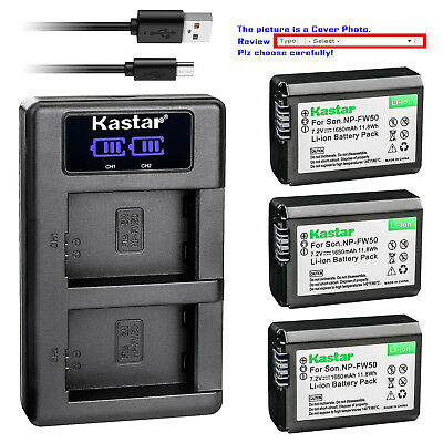 Kastar LCD Dual Charger Battery for Sony NP-FW50 W Series Sony ILCE-7 Alpha 7 a7