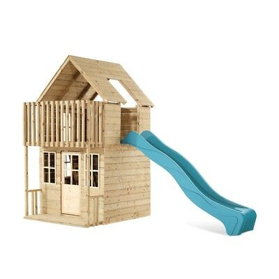 TP Toys Skye Wooden Playhouse and 8FT Slide Outdoor 2 Storey Playhouse