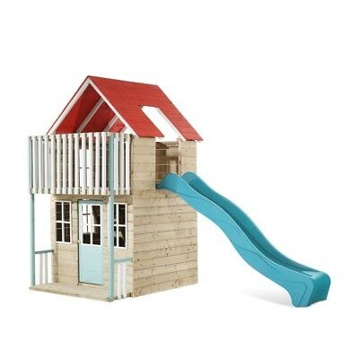 TP Toys Padstow Wooden Playhouse and 8FT Slide Outdoor 2 Storey Playhouse