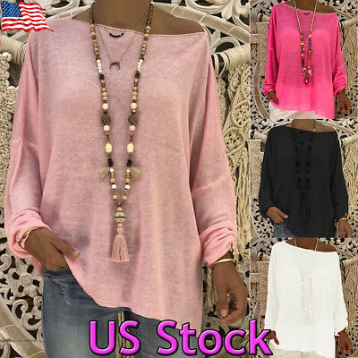 USA Womens Boho Cotton Blouses Round Neck Batwing Sleeve Loose Casual Solid Tops