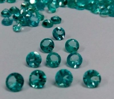 Natural Apatite Calibrated Size Round Faceted Cut Greenish Blue Loose Gemstone