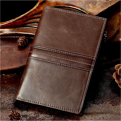 Men Genuine Leather Brown Travel Wallet Ticket Card Passport Case Holder Folder