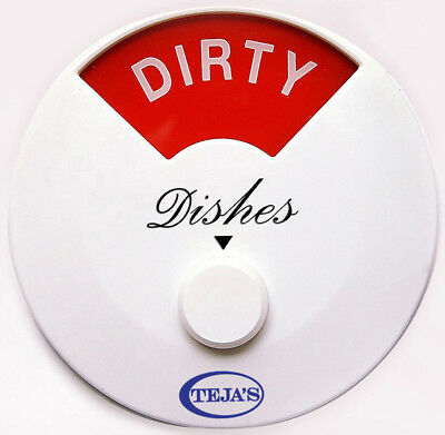 Teja Dishwasher Magnet Clean Dirty Magnetic Adhesive Sign Indicator Round White