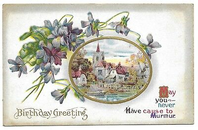 Greetings postcards collectibles page 94 picclick early birthday greeting postcard 1907 embossed village vignetteunused m4hsunfo