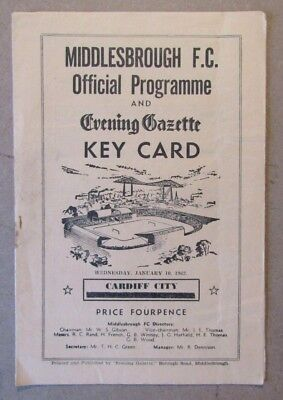 1961/62  Middlesbrough v Cardiff City  FA Cup 3rd Rd Programme  10/01/1962