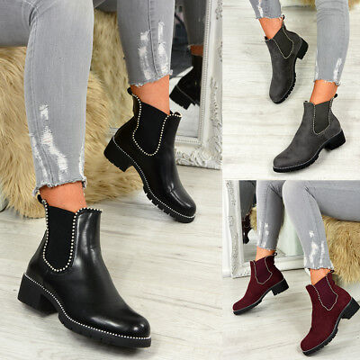 9466802f1070c Ladies Womens Elastic Gusets Ankle Boots Chelsea Studded Low Heel Shoes Size