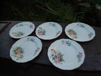 George Jones & Sons - Crescent - 5 Tea Plates - Floral Pattern - Maybe Junetime