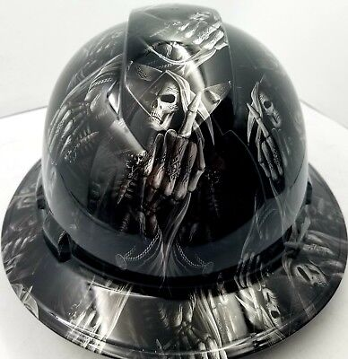 Hard Hat custom hydro dipped , OSHA approved FULL BRIM ,FTW GRIM REAPER UP YOURS