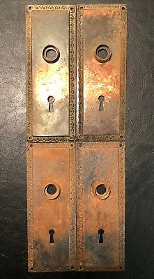 Lot of 4 Matching Antique Vintage Door Knob Back Plate Plates Home Repurpose