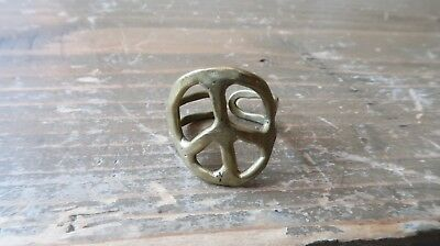 Vintage 60s Hippie Brass Peace Adjustable Ring