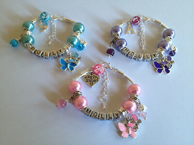 Personalised childrens girls pink purple blue butterfly charm bracelet gift box