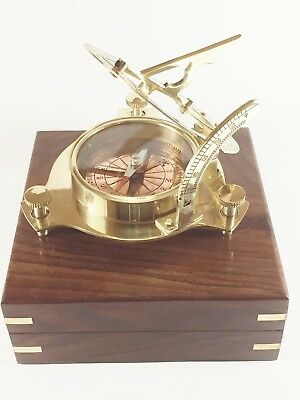 "Brass 4"" Copper dial Sundial with RF Poem in  Wooden Box USA Seller!!!"