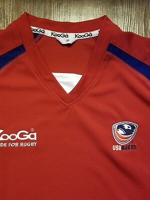 6b713015dfc KooGa USA Rugby Shirt Jersey Size Adult Large Red White Blue Nice. NWOT