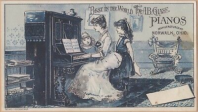 Victorian Trade Card-A B Chase Pianos-Norwalk, OH-Charles Tuttle-Rome, NY