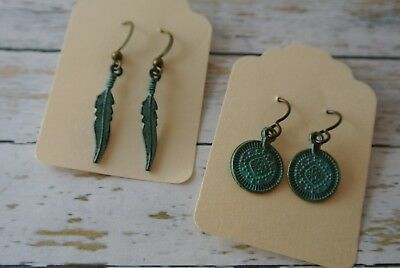 Greek Bronze Patina Earrings Handmade Feather, Ancient Coins Set of 2