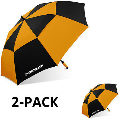 "Dunlop 60"" 2-PACK Double Canopy Folding 2-Person Golf Umbrella Windproof Vented"