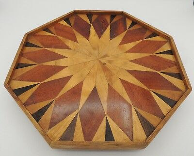 Vintage Marquetry Lazy Susan Inlay Signed Hand Made