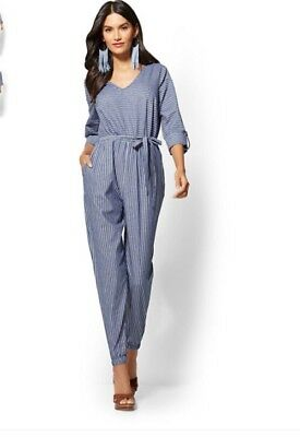 f3c1c8b4bb9 NWOT New York And Company Blue Belted Mixed Stripe Jumpsuit Sz Medium M