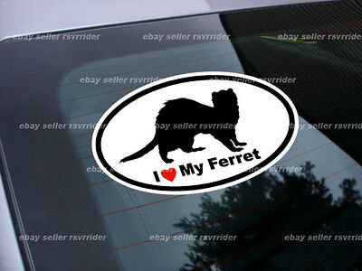 Ferret decal sticker oval I heart my ferret *free ship