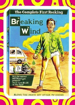 "2014 Wacky Packages Series 1 ""BREAKING WIND"" #1 Terrible TV Insert sticker card"