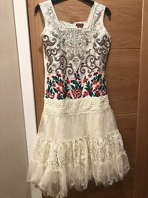 Girls Size 36 Indian Dress - White/Brown/Red Flowers and Embroidery