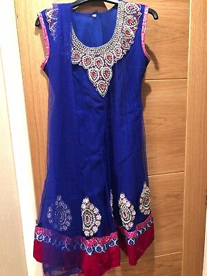 Girls Size 36 Indian Dress - Blue and Velvet Pink with Silver Beading