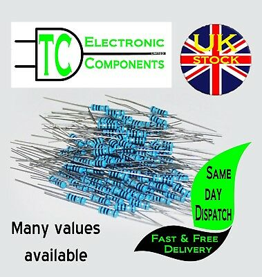 1/4W Metal Film Resistors 1% 165 values available (20 Pack) *UK Seller* Free P&P