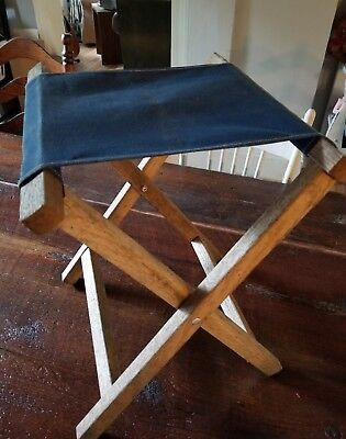 Fine Vintage Wood Canvas Seat Camp Stool Folding Small Chair Bralicious Painted Fabric Chair Ideas Braliciousco