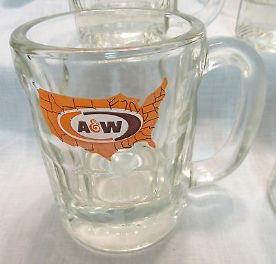 Vintage A&w Heavy Glass Root Beer Mugs, Set Of 4