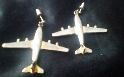 Vintage  Aircraft Airplane metal Earrings 50-80 years old for  pierced ears