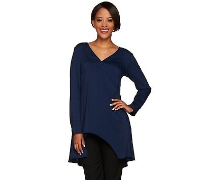 984b8ec8b8d H by Halston Women s Long Sleeves V-Neck Wrap Front Tunic Top Navy Size 4